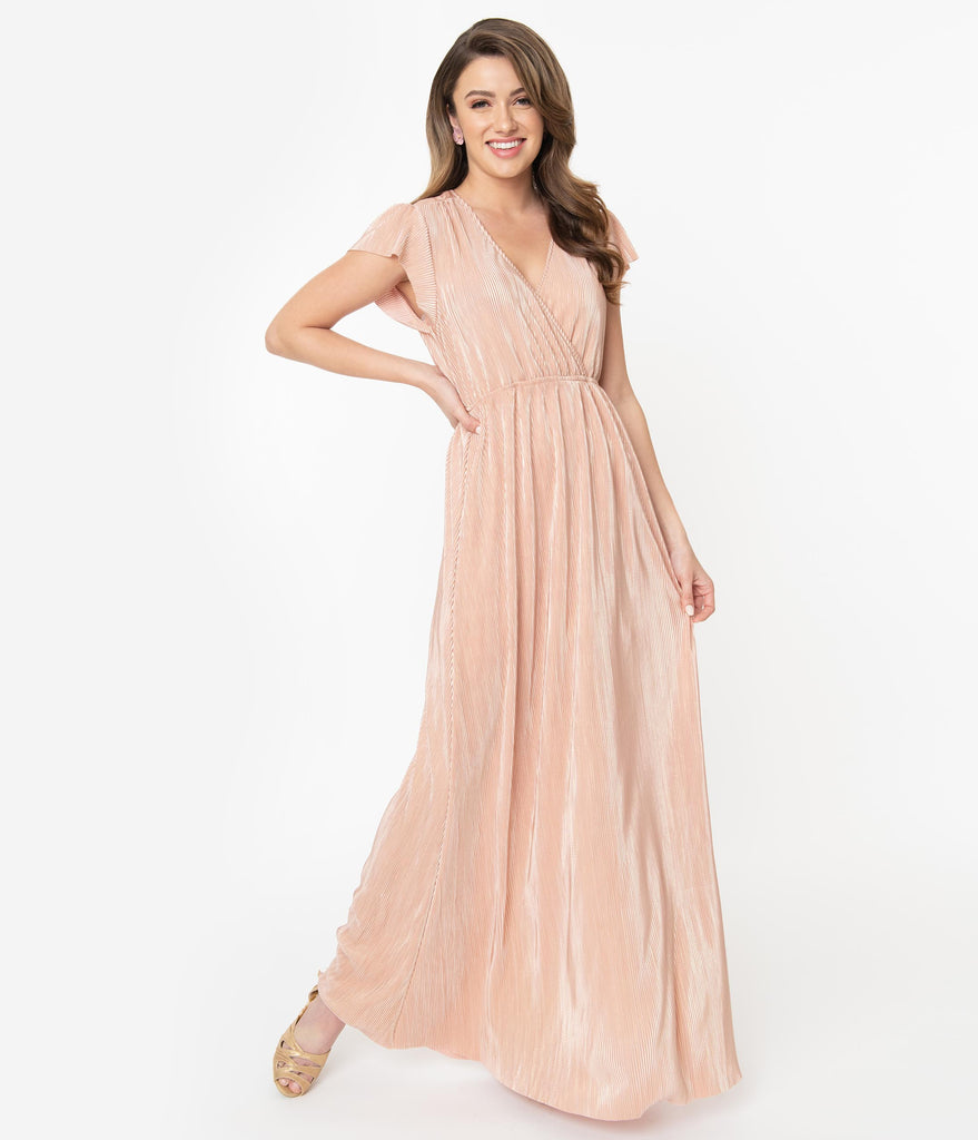 Vintage Style Pink Metallic Ribbed Maxi Dress