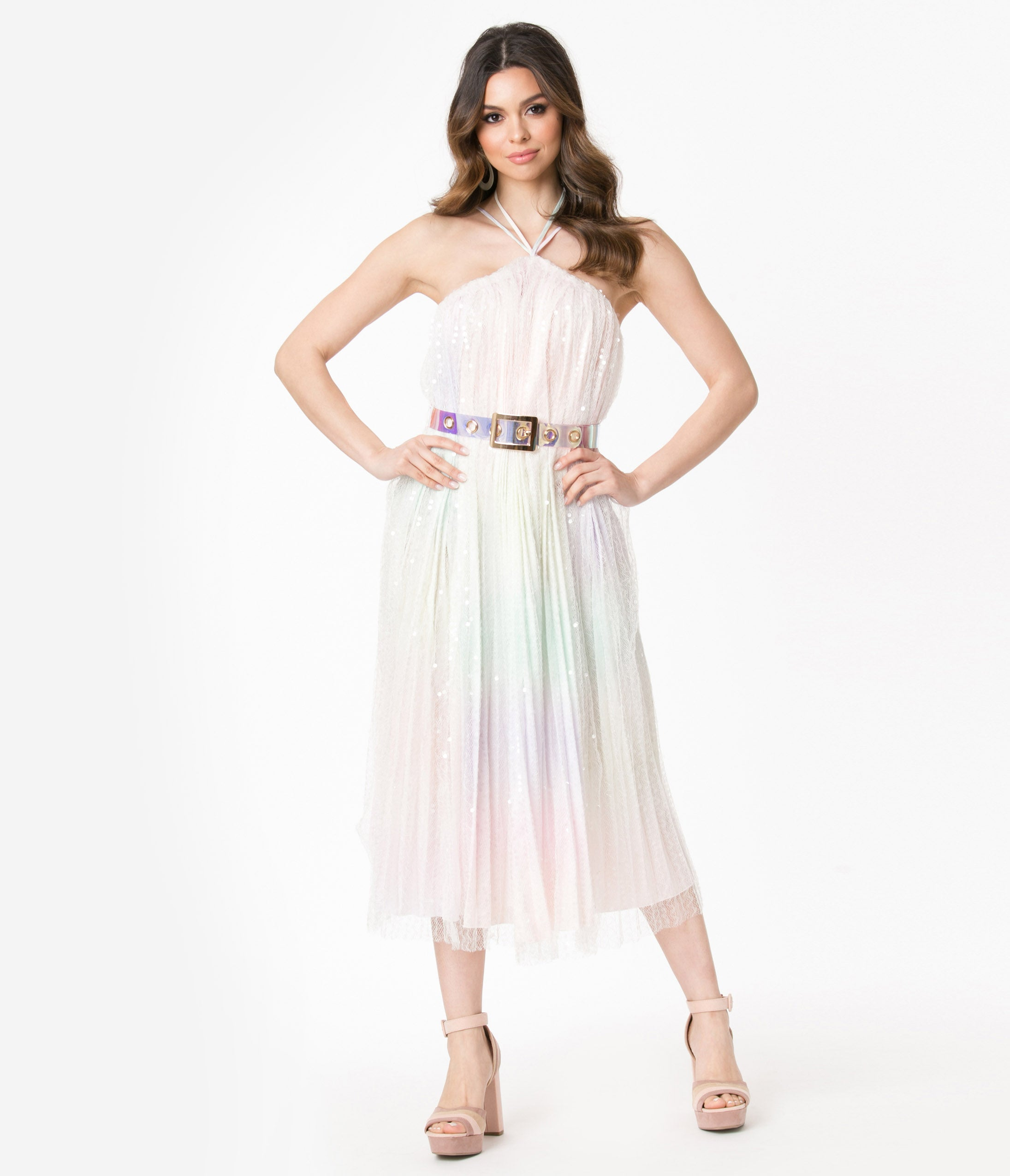 70s Prom, Formal, Evening, Party Dresses Pastel Rainbow Ombre Sequin Midi Dress $88.00 AT vintagedancer.com