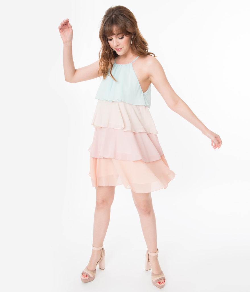 Multicolor Pastel Tiered Shift Dress
