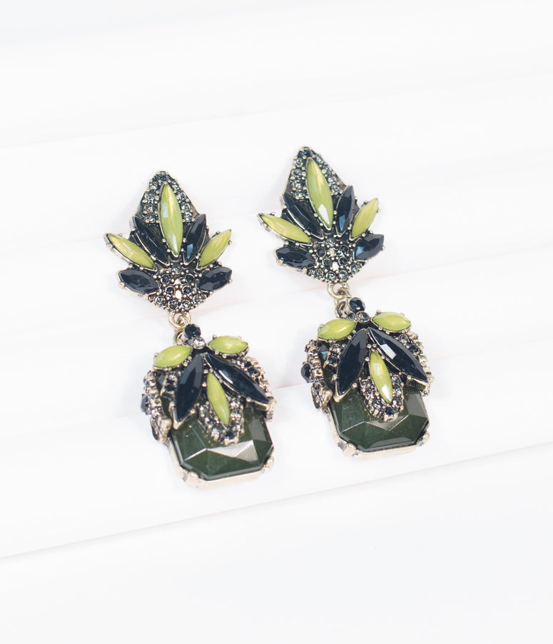 Green Deco Gemstone Large Drop Earrings