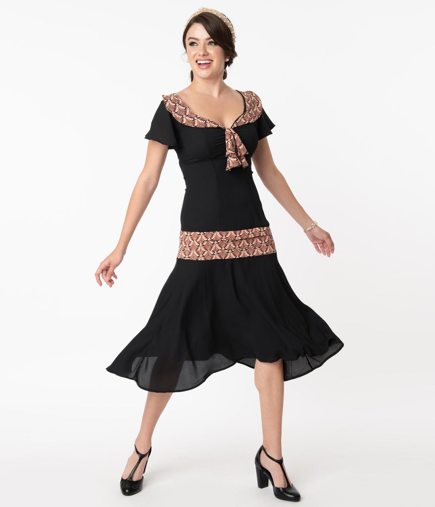 Unique Vintage 1920s Black & Deco Print Wilshire Flapper Day Dress