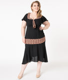 Unique Vintage Plus Size 1920s Black & Deco Print Wilshire Flapper Day Dress