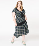 Unique Vintage Plus Size 1920s Green & Ivory Plaid Wilshire Flapper Day Dress
