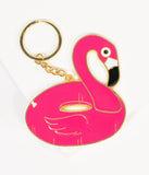 Pink Flamingo Pool Float Keychain