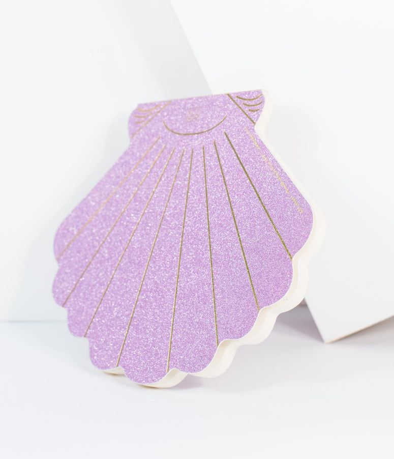 Purple Sparkle Seashell Paper Notebook