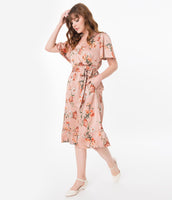 A-line V-neck Flutter Short Sleeves Sleeves Elasticized Waistline Pocketed Vintage Floral Print Summer Midi Dress With a Sash and Ruffles