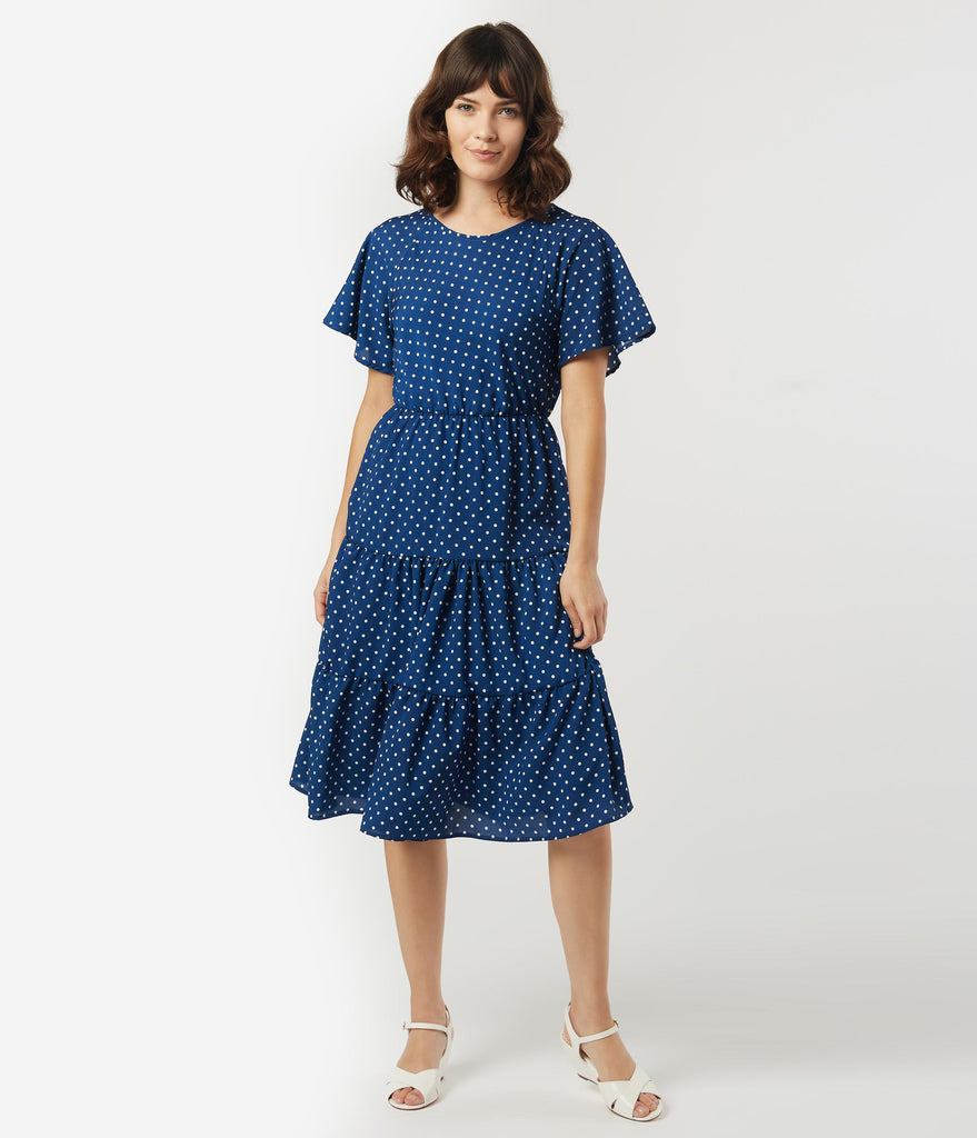 Vintage Style Navy & White Pin Dot Tiered Dress