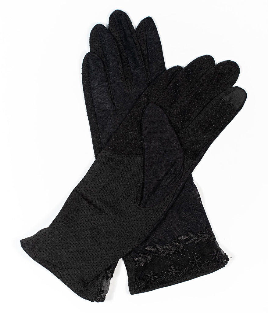 Unique Vintage Black Floral Mesh Gloves