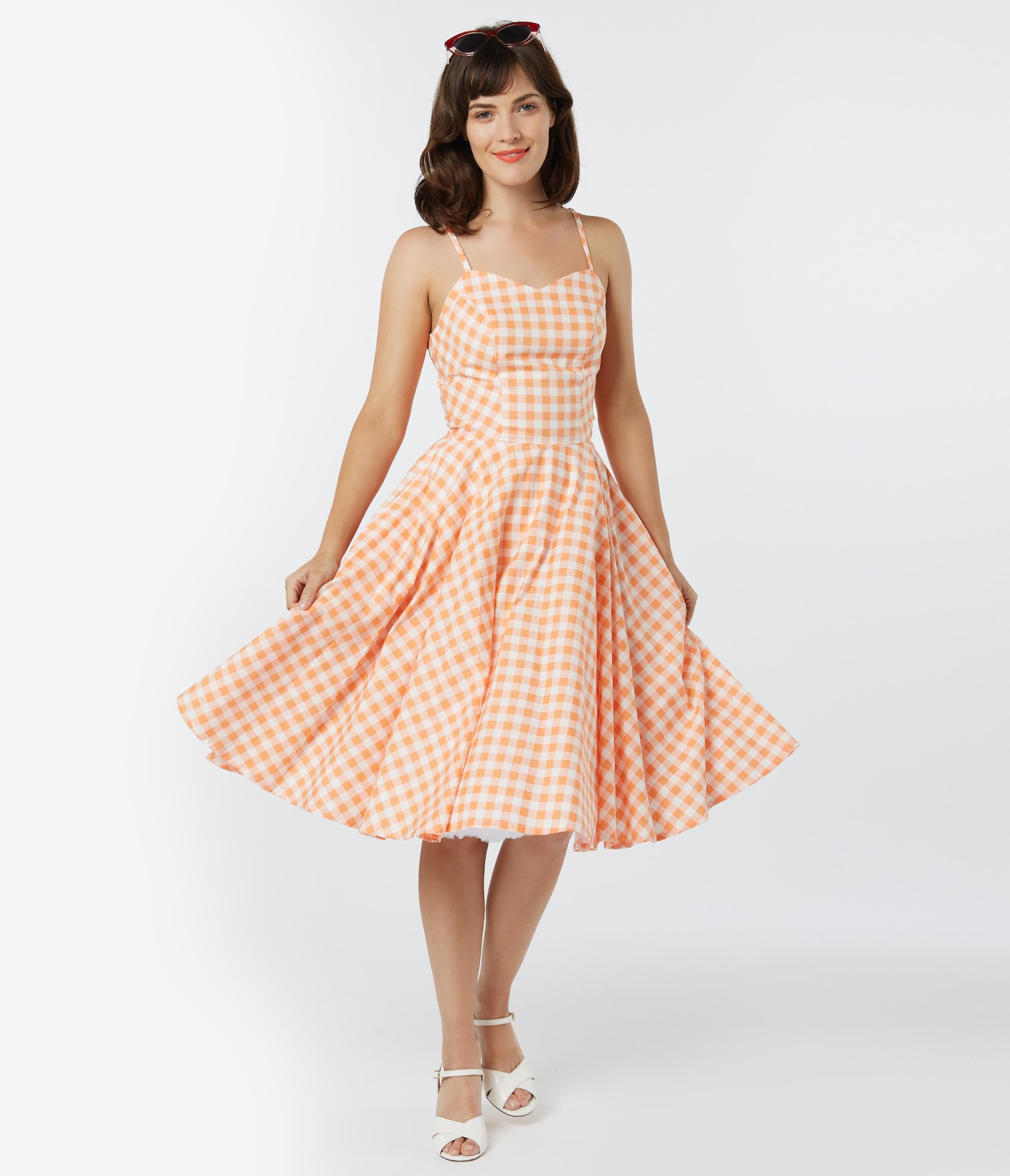 1950s Swing Dresses | 50s Swing Dress Retro Style Pink Gingham Ray Swing Dress $88.00 AT vintagedancer.com