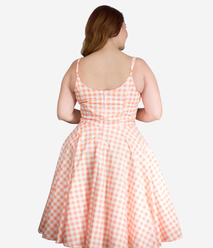 Plus Size Retro Style Pink Gingham Ray Swing Dress