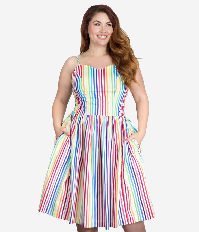 Plus Size Retro Style Rainbow Striped Ray Swing Dress