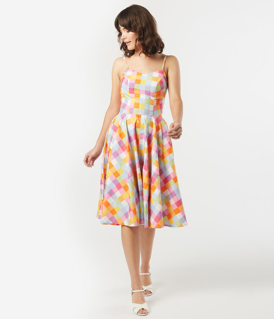 Retro Style Multicolor Checkers Ray Swing Dress