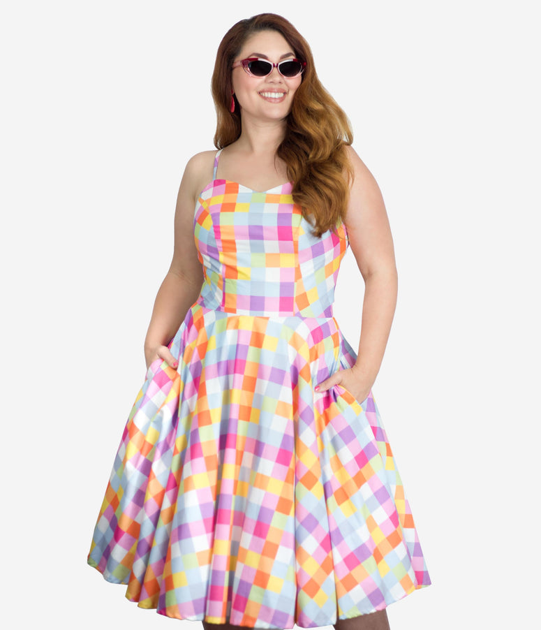 Plus Size Retro Style Multicolor Checkers Ray Swing Dress