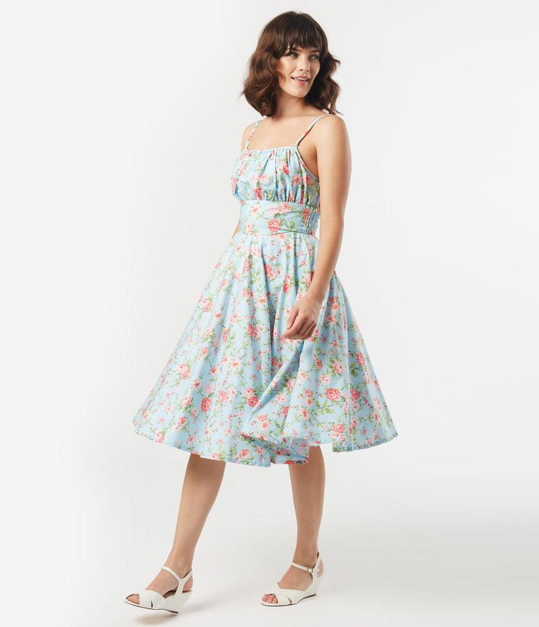 1950s Light Blue & Pink Floral Gina Swing Dress