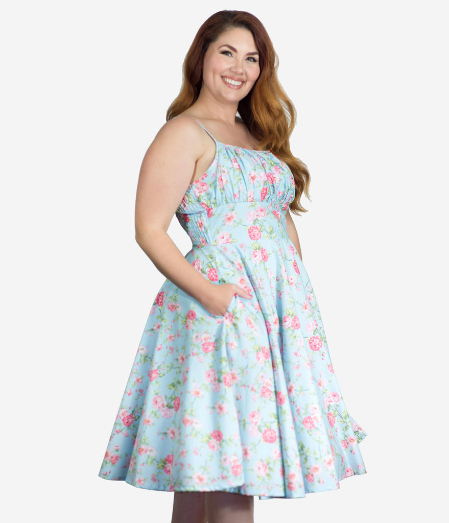 Plus Size 1950s Light Blue & Pink Floral Gina Swing Dress