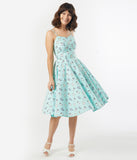 Retro Style Mint Cats Print Ray Swing Dress