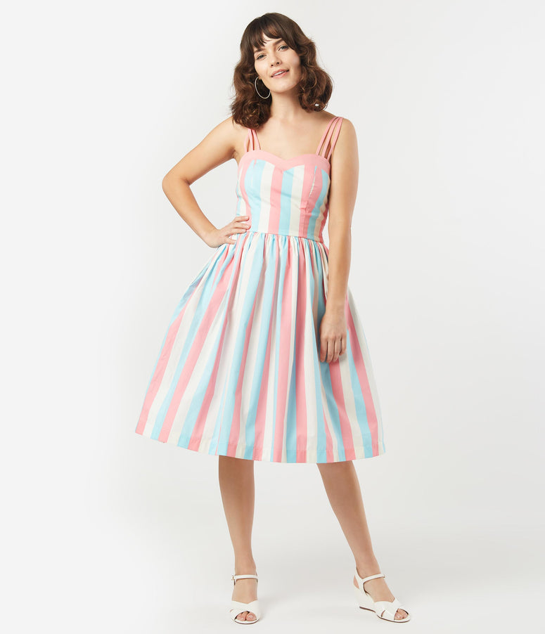 1950s Light Blue & Pink Stripe Candy Swing Dress