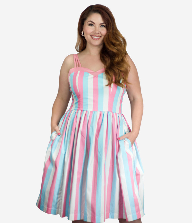 Plus Size 1950s Light Blue & Pink Stripe Candy Swing Dress