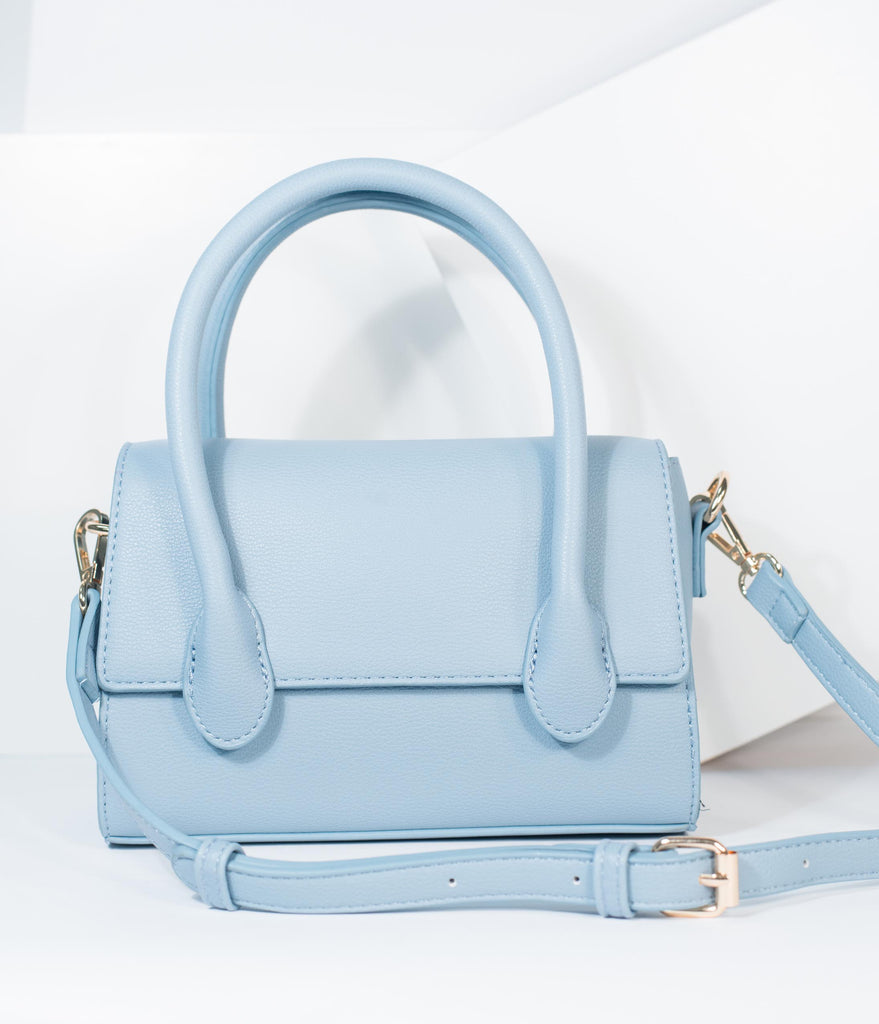 Light Blue Leatherette Structured Purse