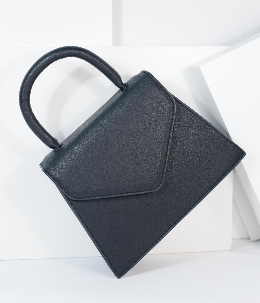 Black Leatherette Top Handle Structured Purse