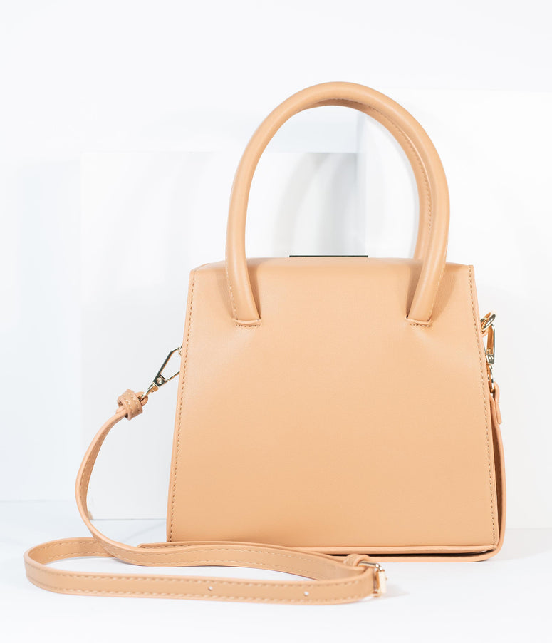 Tan Leatherette Square Handbag