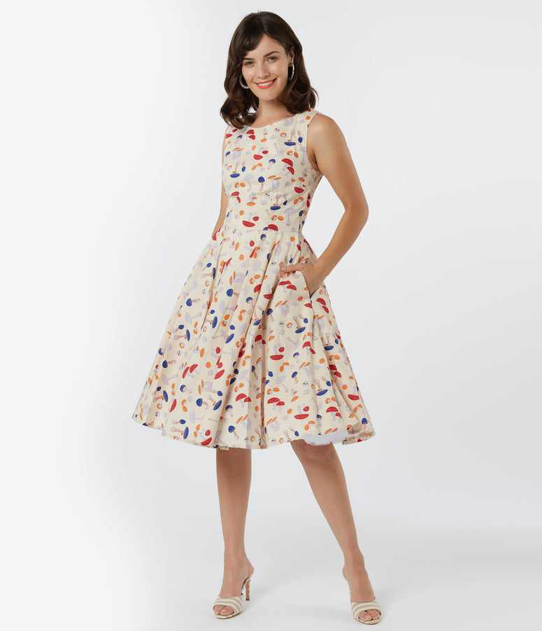 Retro Style Cream & Mushroom Print Candice Swing Dress