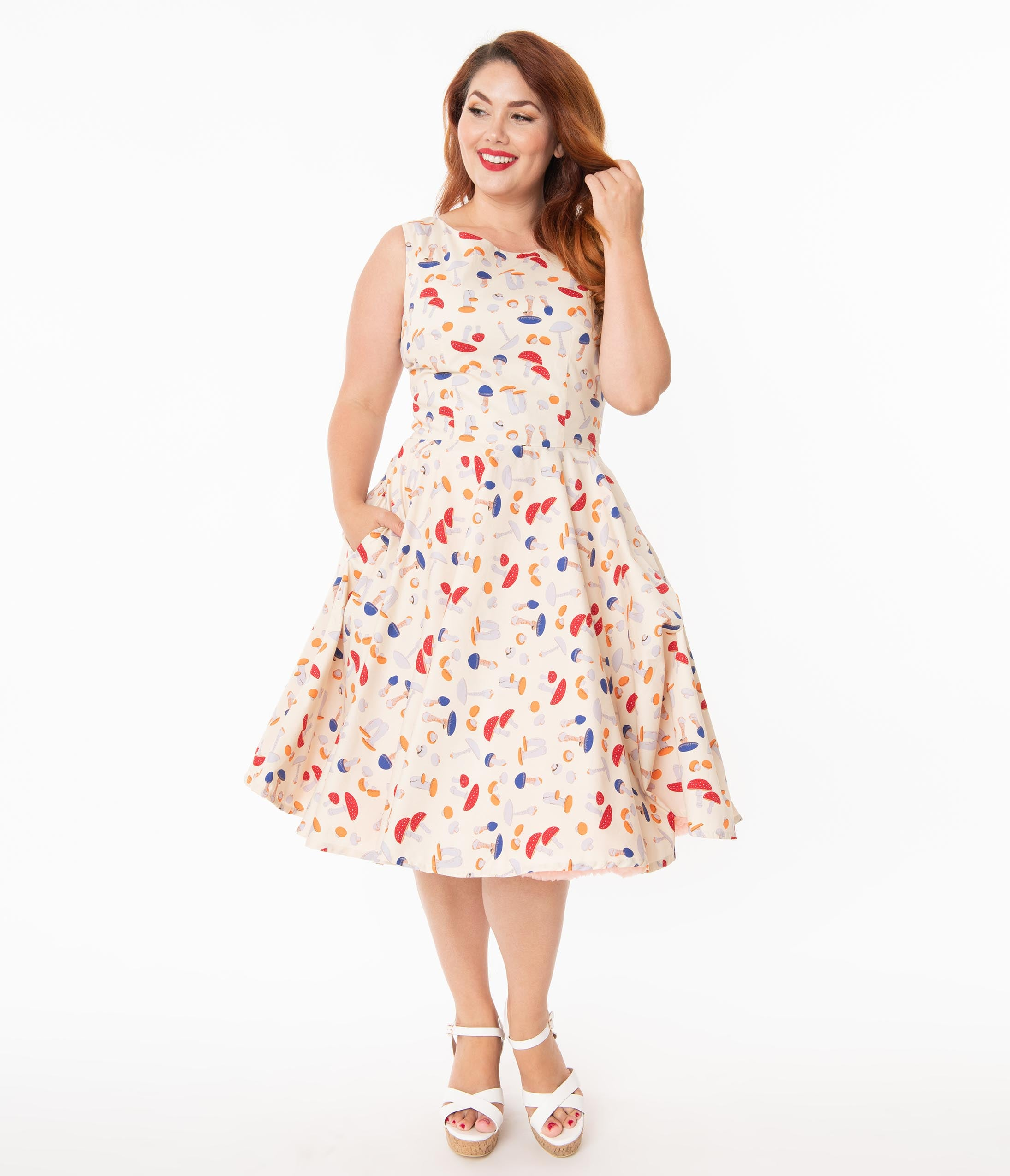 60s 70s Plus Size Dresses, Clothing, Costumes Plus Size Retro Style Cream  Mushroom Print Candice Swing Dress $78.00 AT vintagedancer.com