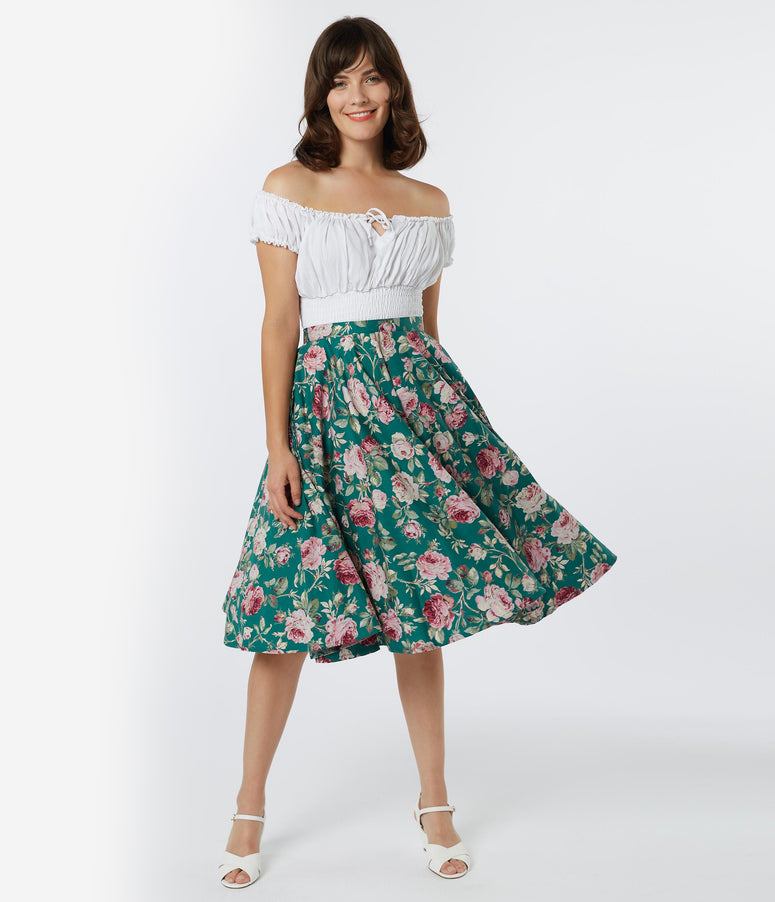 Vintage Style Green & Pink Floral Print Swing Skirt