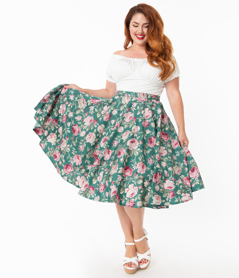 Plus Size Vintage Style Green & Pink Floral Print Swing Skirt