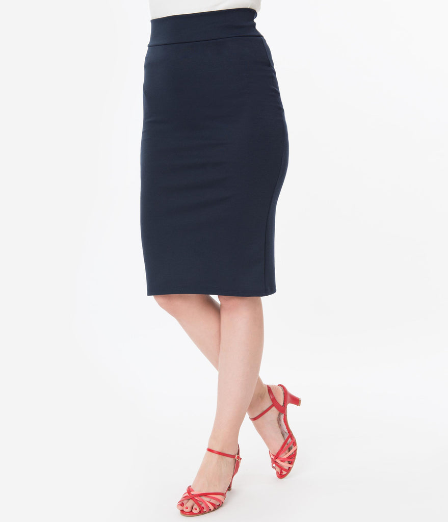 Retro Style Navy Blue High Waisted Wiggle Skirt