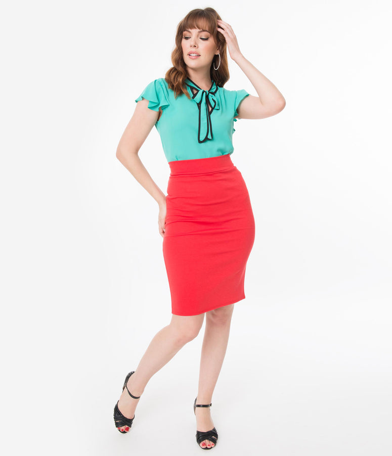 Retro Style Red High Waisted Wiggle Skirt