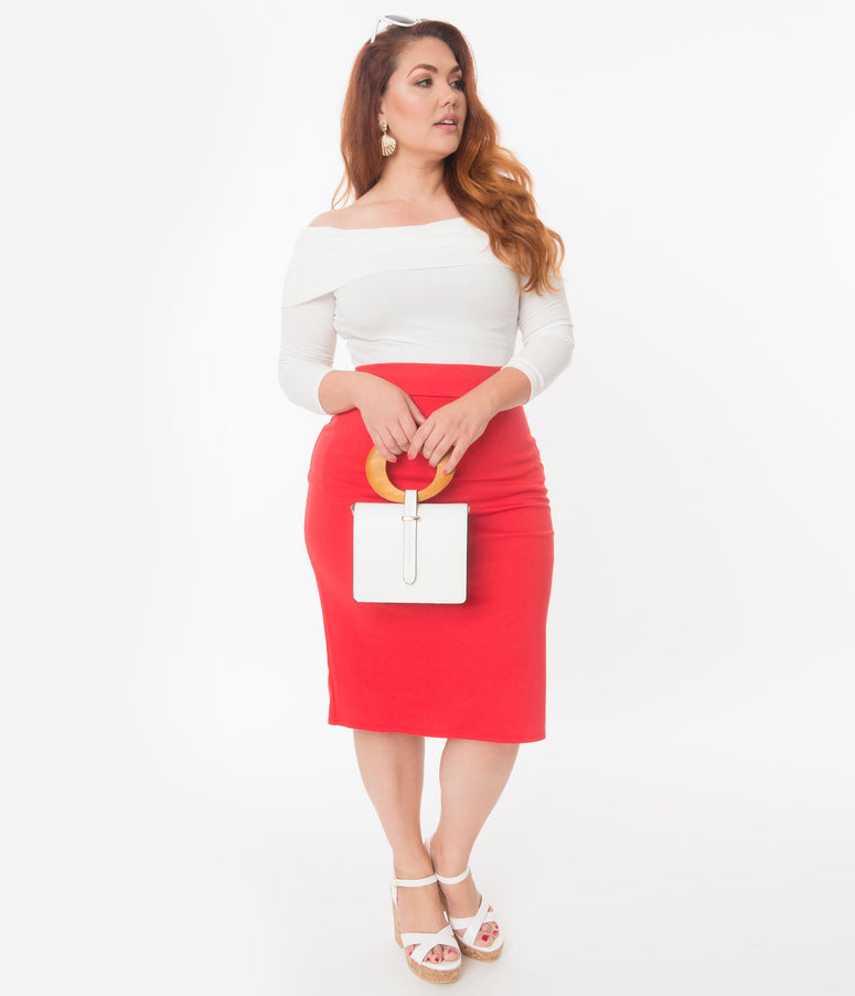 Plus Size Retro Style Red High Waisted Wiggle Skirt