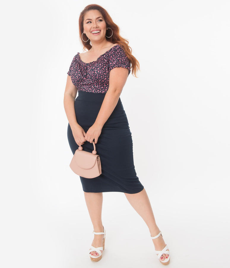 Plus Size Retro Style Navy Blue High Waisted Wiggle Skirt
