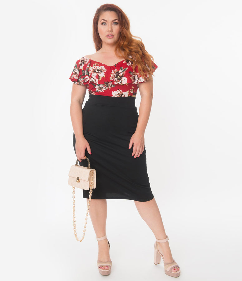 Plus Size Retro Style Black High Waisted Wiggle Skirt