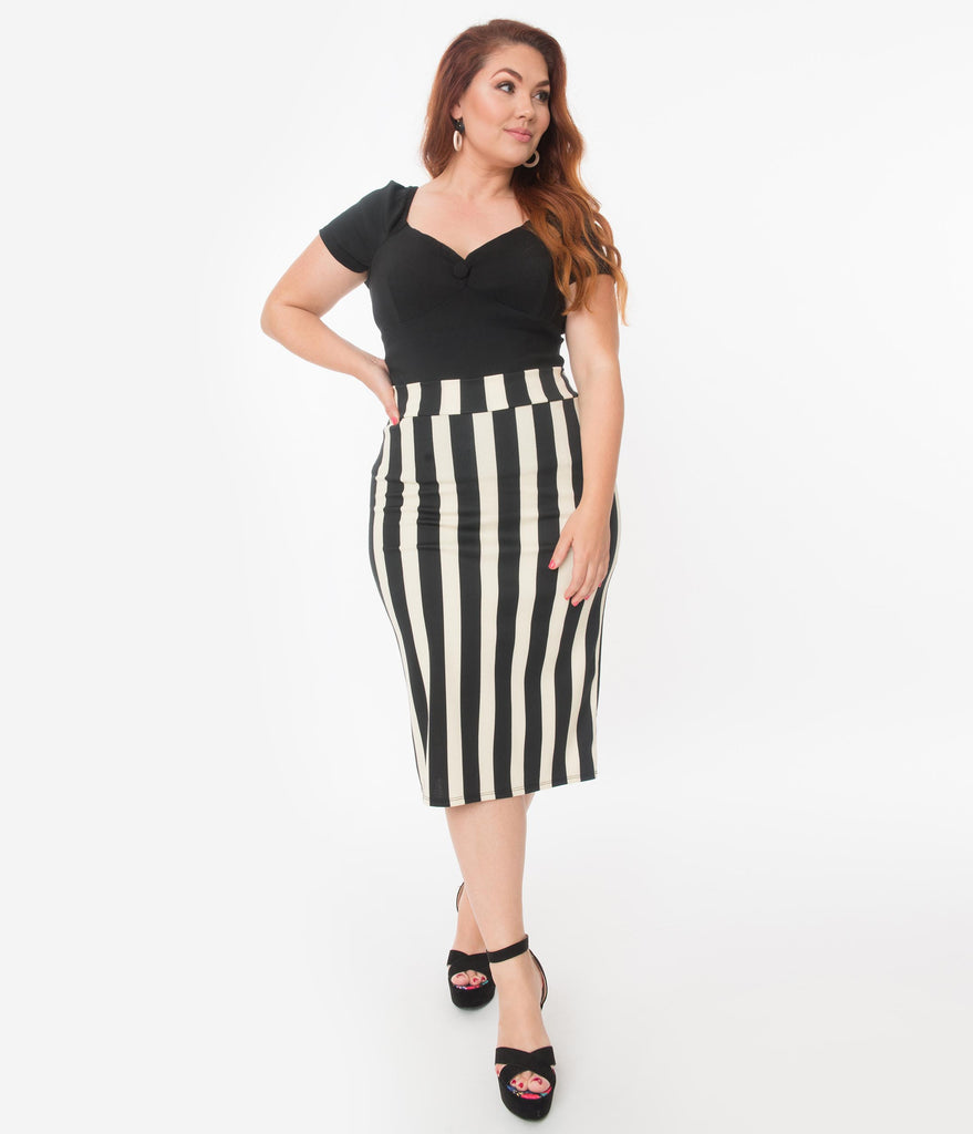Plus Size Retro Style Black & Cream Stripe High Waisted Wiggle Skirt