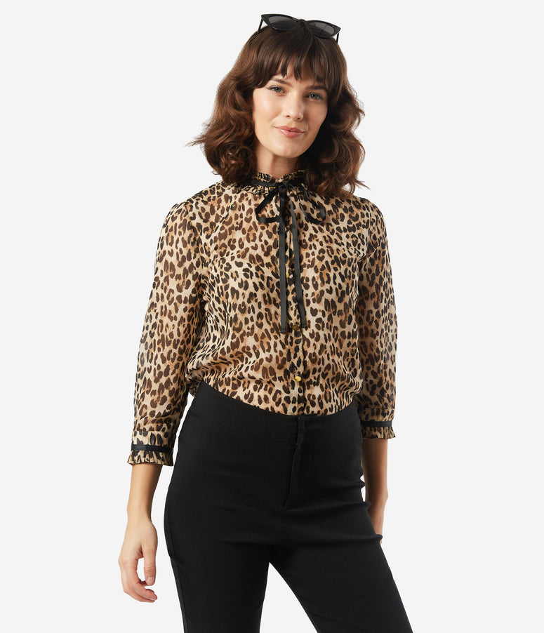 Vintage Style Leopard High Collar Blouse