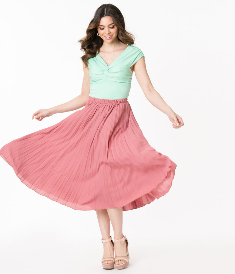 Retro Style Mauve Pleated Midi Skirt