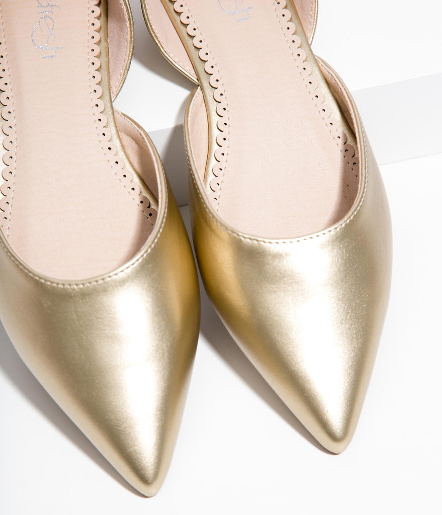 Gold Leatherette Pointed Toe Flats