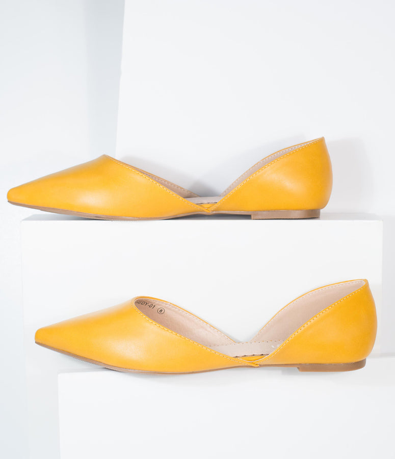 Mustard Leatherette Pointed Toe Flats