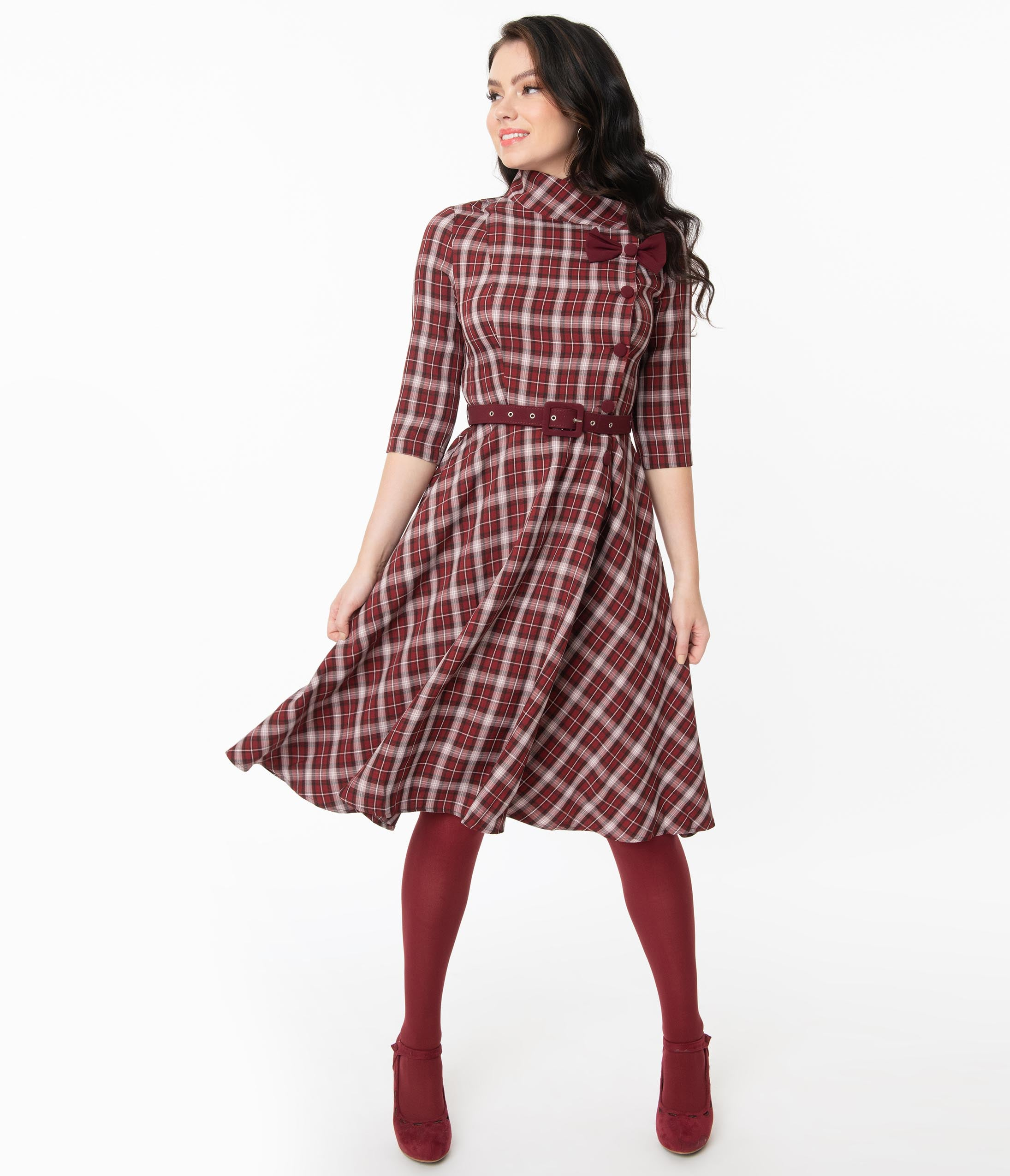 1950s Housewife Dress | 50s Day Dresses Voodoo Vixen Burgundy  White Plaid Rommana Swing Dress $78.00 AT vintagedancer.com