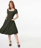 Voodoo Vixen 1950s Dark Green Marine Swing Dress