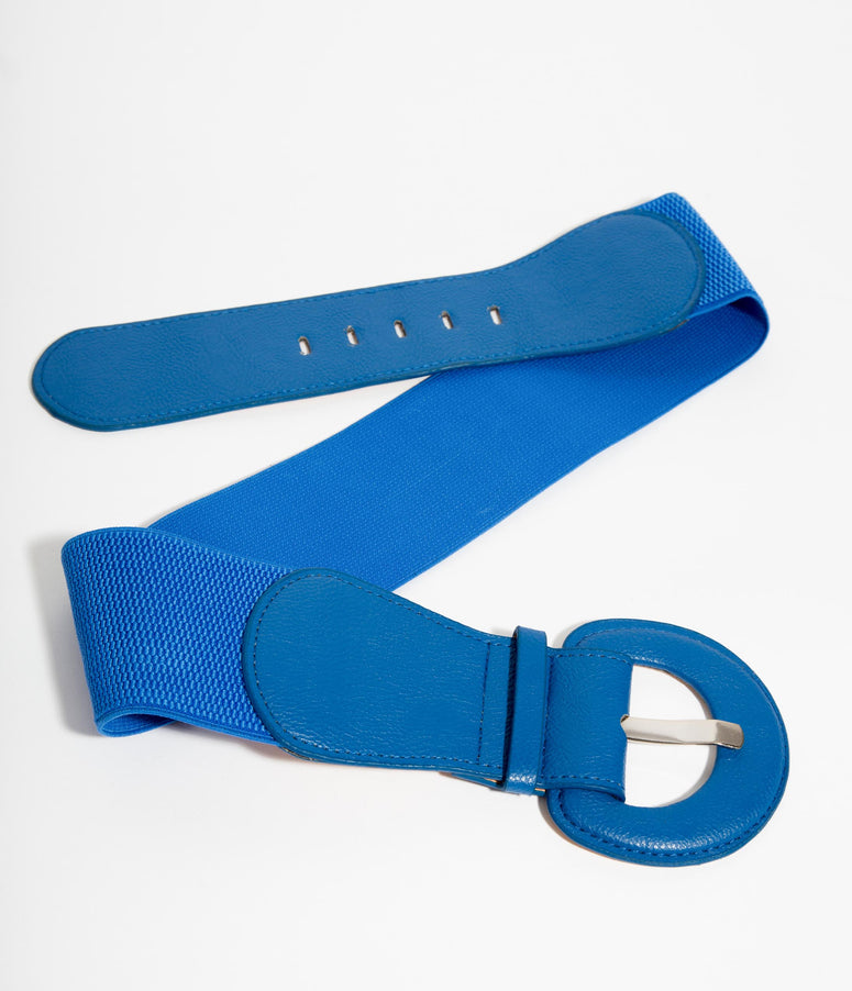 Retro Style Royal Blue Leatherette Wide Elastic Cinch Belt