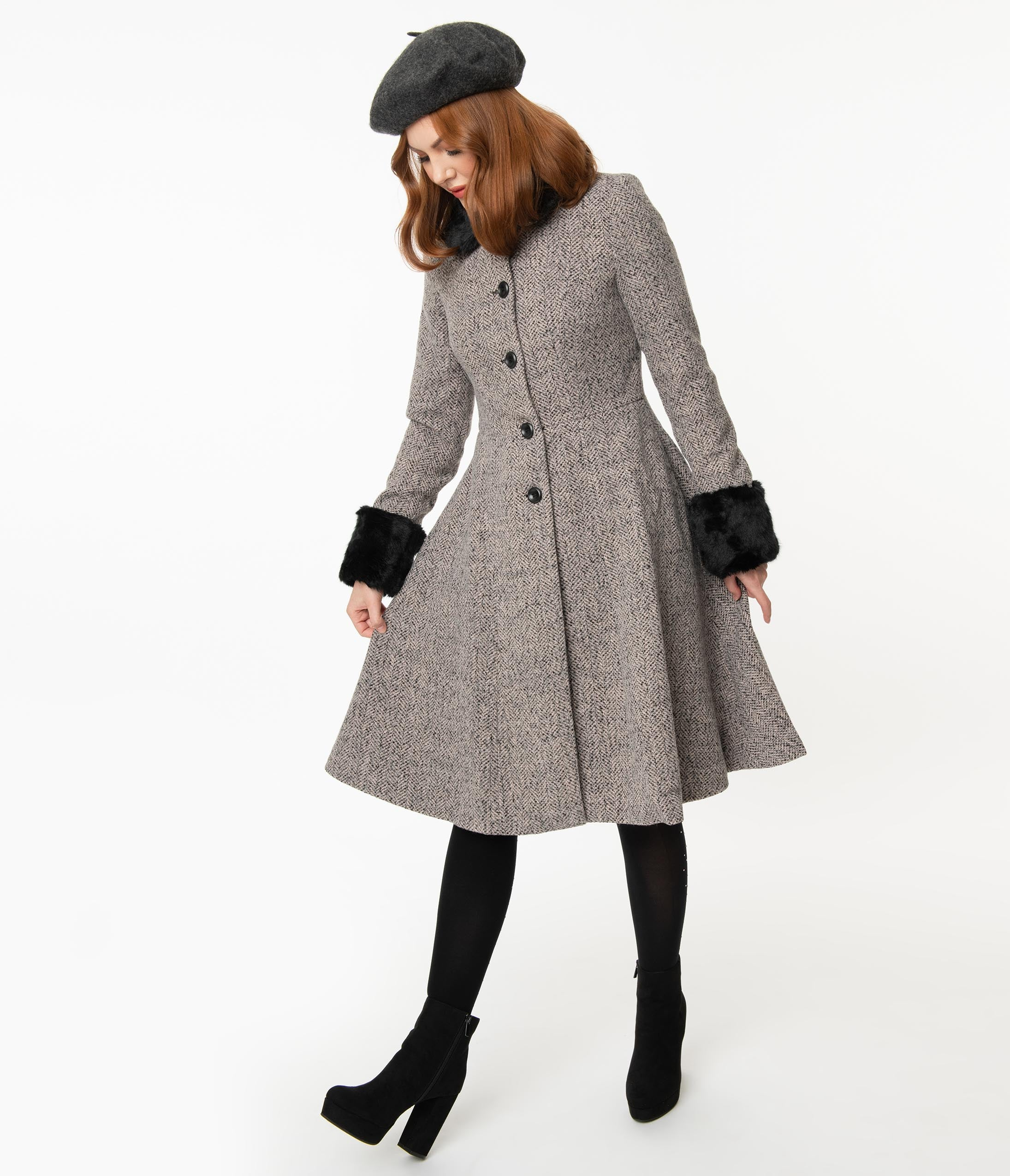 1950s Jackets, Coats, Bolero | Swing, Pin Up, Rockabilly Voodoo Vixen 1950S Grey Tweed Louisa May Coat $148.00 AT vintagedancer.com