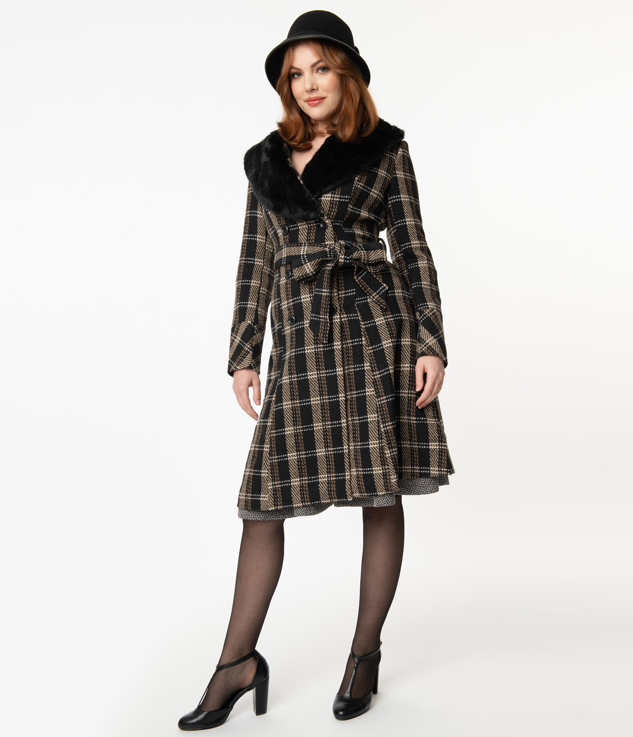 1950s Jackets, Coats, Bolero | Swing, Pin Up, Rockabilly Voodoo Vixen 1960S Brown  Black Plaid Kara Coat $148.00 AT vintagedancer.com