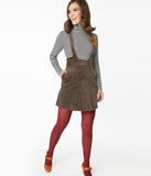 Voodoo Vixen Brown Corduroy Suspender Bo Mini Skirt