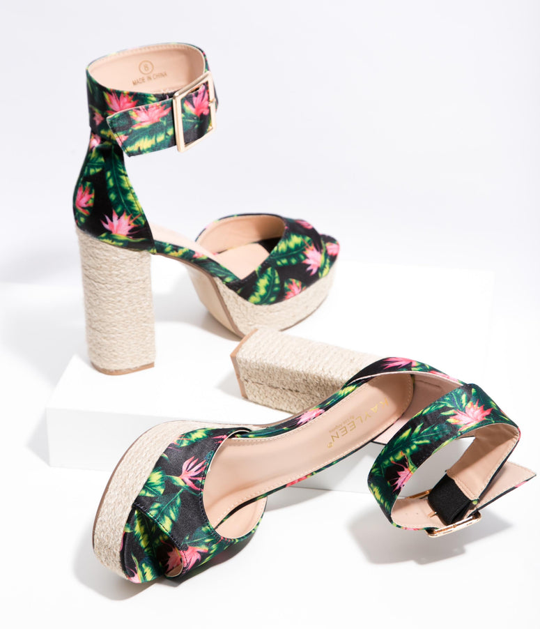 Black Tropical Flower Platform Espadrille Sandals