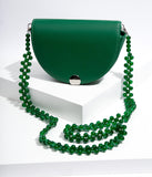 Green Leatherette Beaded Strap Crossbody Purse