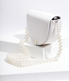 White Leatherette Beaded Strap Crossbody Purse