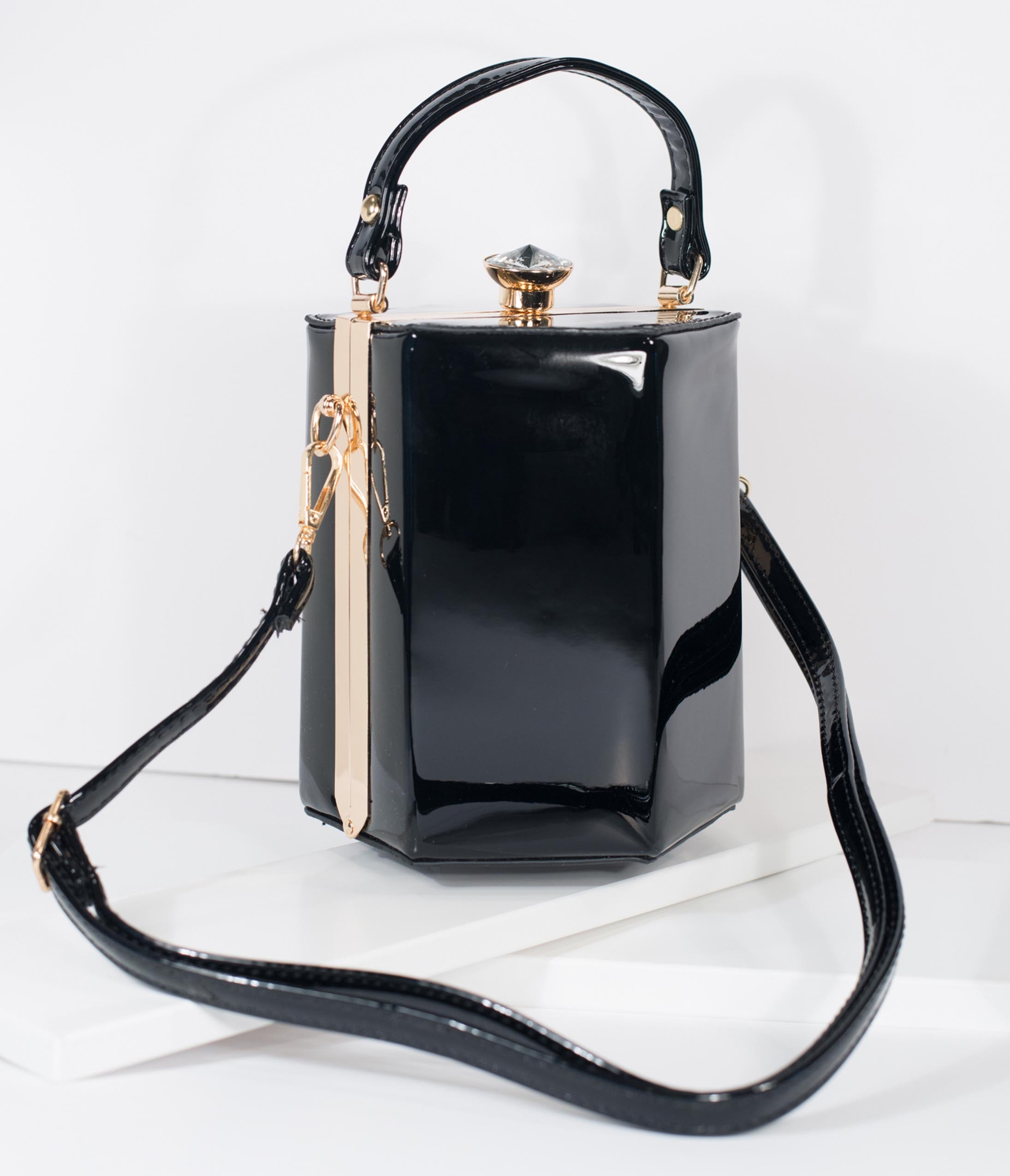 1950s Handbags, Purses, and Evening Bag Styles Black Patent Leatherette Hexagon Hard Case Purse $58.00 AT vintagedancer.com
