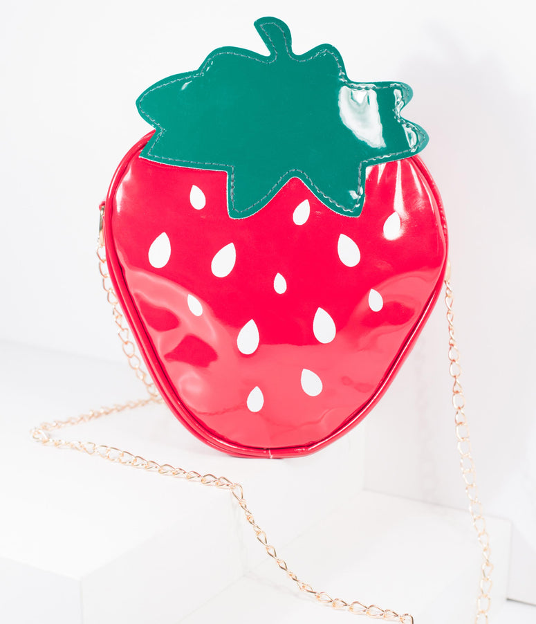 Red Patent Leatherette Strawberry Crossbody